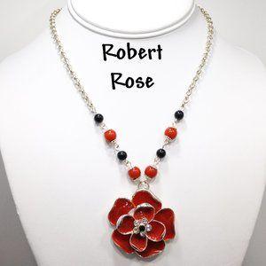 Robert Rose Red Enamel Flower Rhinestone Necklace
